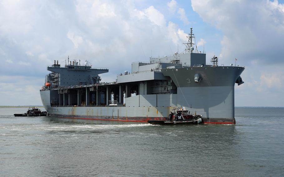 The expeditionary mobile base USNS Lewis B. Puller gets underway from Naval Station Norfolk, Va., to begin its first operational deployment, July 10, 2017. Puller is deploying to the U.S. 5th Fleet's area of operation.