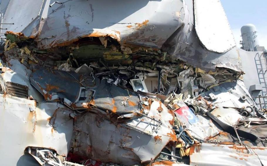 This screenshot of a photo taken from a Navy report shows the USS Fitzgerald's commmanding officer's stateroom after the June 17, 2017, collision near Japan.