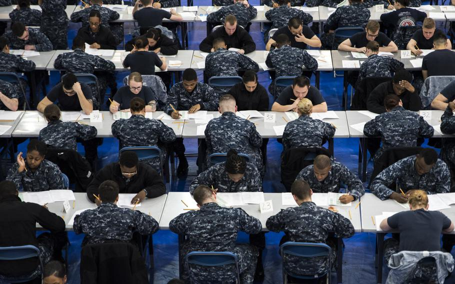 Sailors from Naval Support Activity Bethesda, Walter Reed National Military Medical Center and various commands aboard NSAB take the Navy-wide E-4 advancement exam in Bethesda, Md., March 16, 2017.