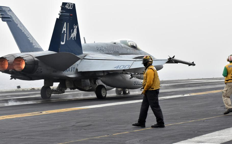 A Super Hornet takes off from the USS George H.W. Bush on April 19, 2017. The carrier is set to arrive at Norfolk, Virginia on Monday, after a seven-month deployment to the Persian Gulf and Mediterranean.