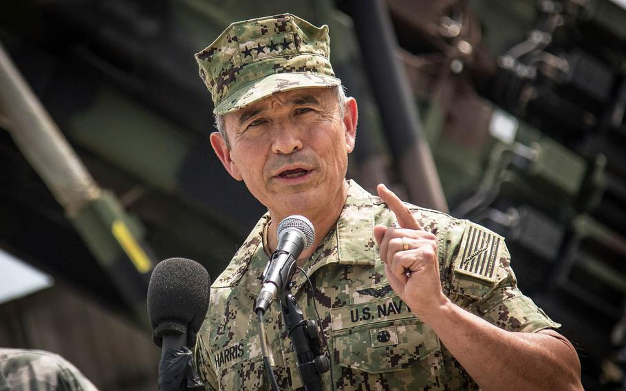 Adm. Harry Harris Jr., head of U.S. Pacific Command, speaks to reporters at Osan Air Base, South Korea, Tuesday, Aug. 22, 2017.