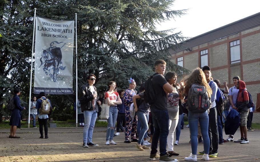 Lakenheath American High School students gather before the first day of school at RAF Lakenheath, England, Monday, Aug. 28, 2017.