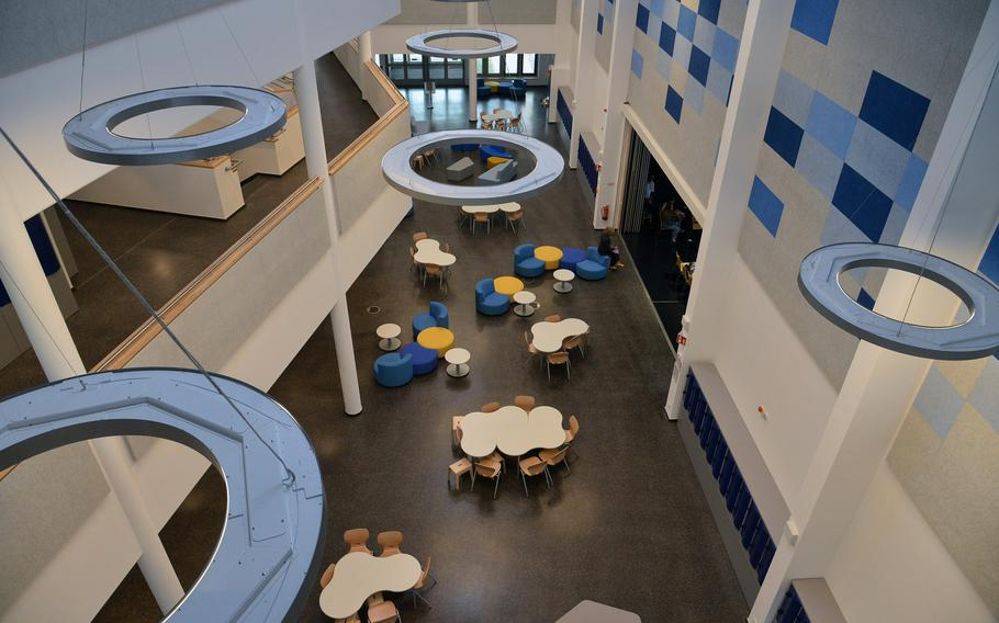 A view of the common area of the new Wiesbaden High School as seen from the school's third floor on the first day of the 2017-18 school year, Monday, Aug. 28, 2017.