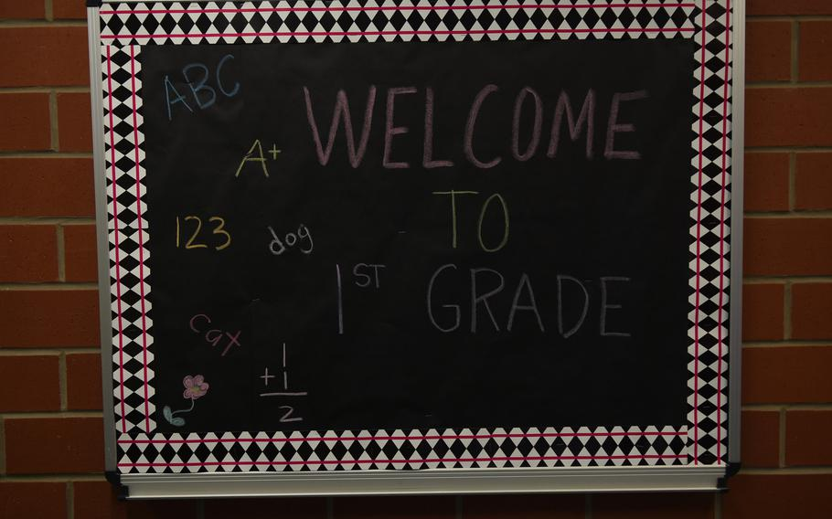 A sign in the hallway at Ramstein Elementary School in Germany welcomes first-graders back to school on Monday, Aug. 28, 2017.