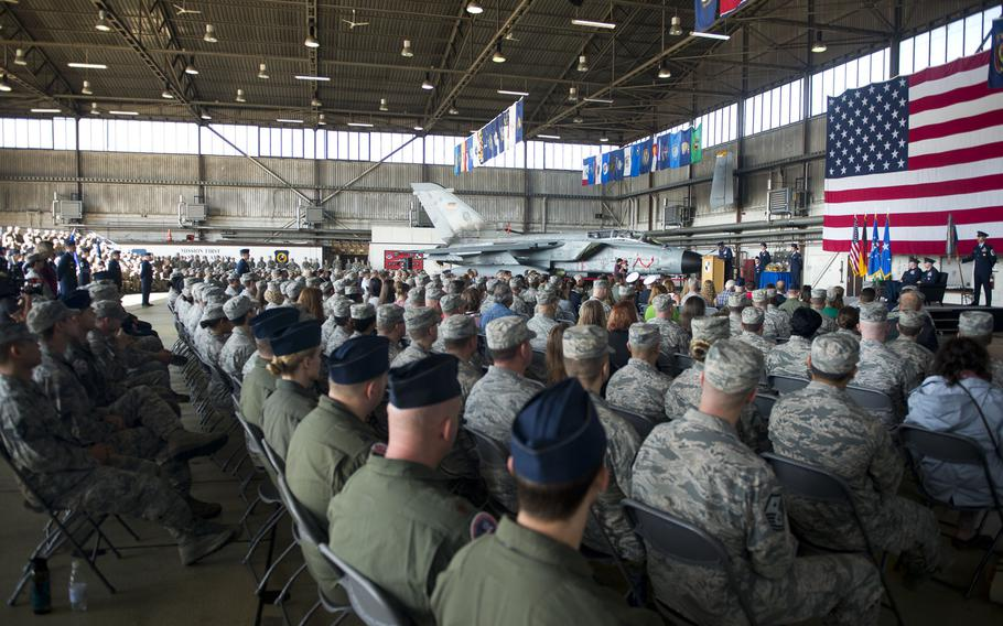 A crowd listens to Lt. Gen. Richard Clark, 3rd Air Force commander, speak during the 52nd Fighter Wing's change-of-command ceremony at Spangdahlem Air Base, Germany on Tuesday, Aug. 29, 2017.