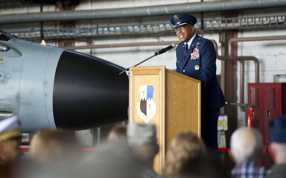 Lt. Gen. Richard Clark, 3rd Air Force commander, speaks during the 52nd Fighter Wing's change-of-command ceremony at Spangdahlem Air Base, Germany on Tuesday, Aug. 29, 2017.
