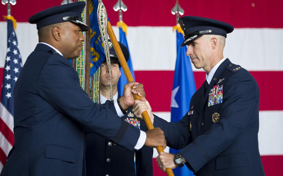 Col. Jason Bailey, 52nd Fighter Wing commander, assumes command during the wing's change-of-command ceremony at Spangdahlem Air Base, Germany on Tuesday, Aug. 29, 2017.