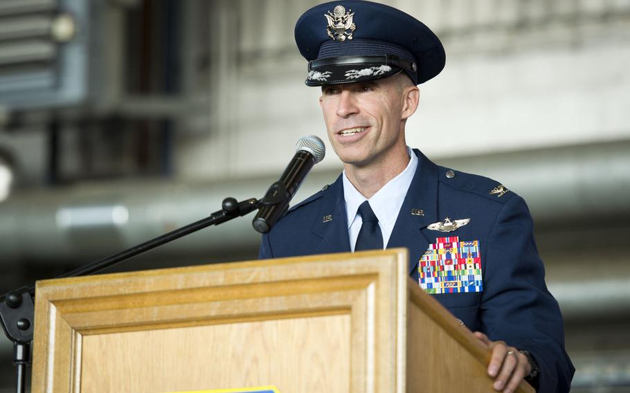 Col. Jason Bailey, 52nd Fighter Wing commander, speaks during the wing's change-of-command ceremony at Spangdahlem Air Base, Germany on Tuesday, Aug. 29, 2017.