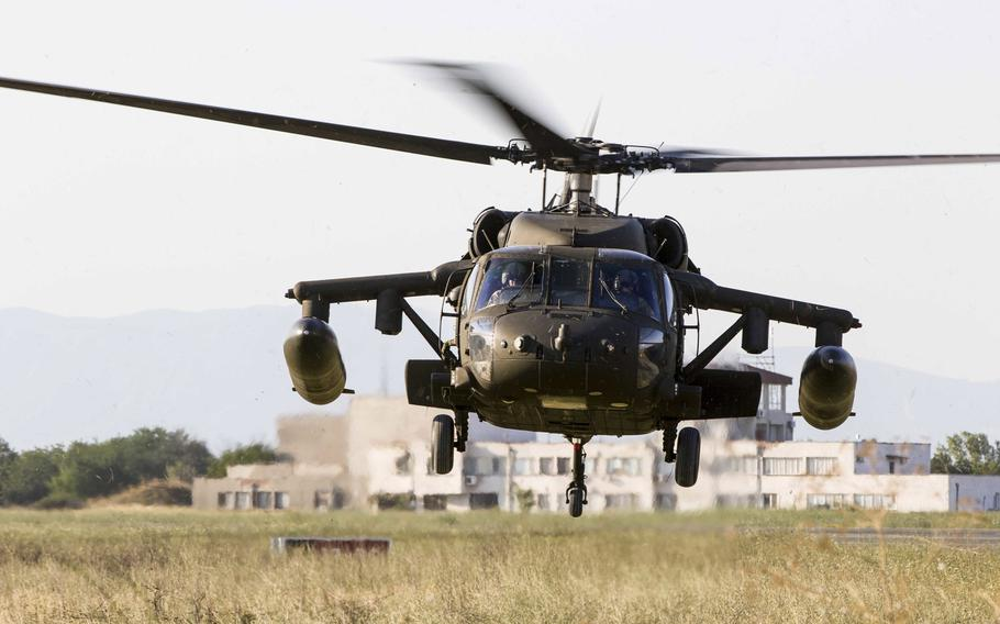 A UH-60 Black Hawk helicopter from 10th Combat Aviation Brigade lands at Bezmer Air Base, Bulgaria, on July 21, 2017.