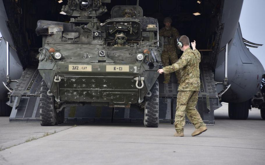Troopers assigned to the 2nd Cavalry Regiment kick off Saber Junction 17 at Hradcany Airfield, Czech Republic, April 29, 2017. The regiment will be receiving upgraded Stryker armored combat vehicles, with enhanced antitank capabilities, beginning next summer.