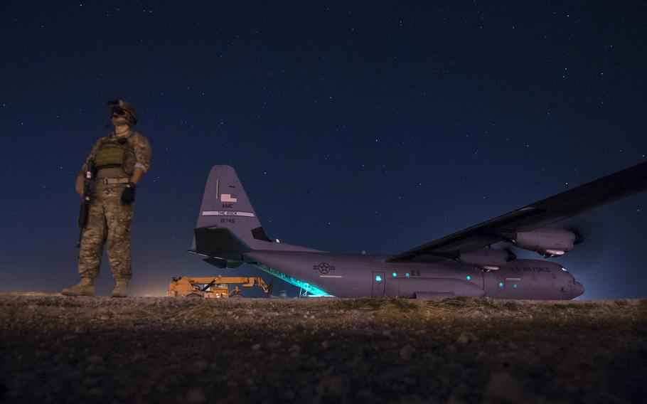 A security team from the 1st Battalion, 153rd Infantry Regiment provides security for a C-130J May 26, 2017, during a cargo mission in Somalia, supporting the Combined Joint Task Force-Horn of Africa. Increasing U.S. airstrikes against the extremist group al-Shabab are part of an effort to buy time for the fledgling Somalian military.