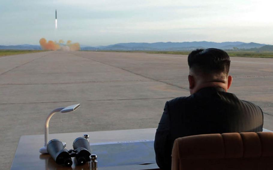 This image of North Korean leader Kim Jong Un watching a launch was released by the Korean Central News Agency a day after Pyongyang test-fired a missile over Japan on Friday, Sept. 15, 2017.