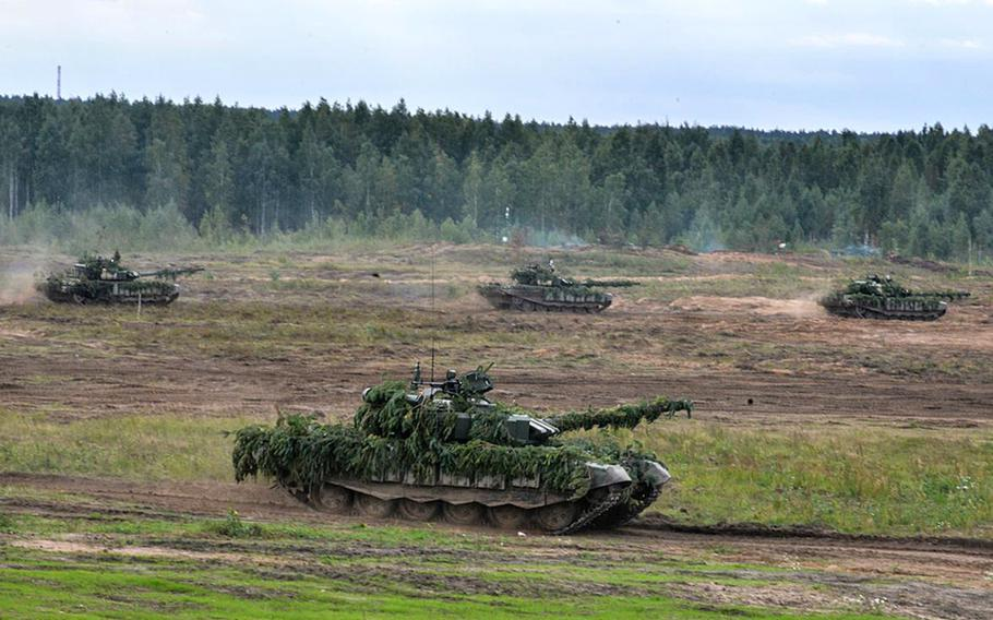 Russian and Belarusian tank units moving to the Zapad 2017 exercise area at the Borisovsky range in Belarus, Friday, Sept. 15, 2017.
