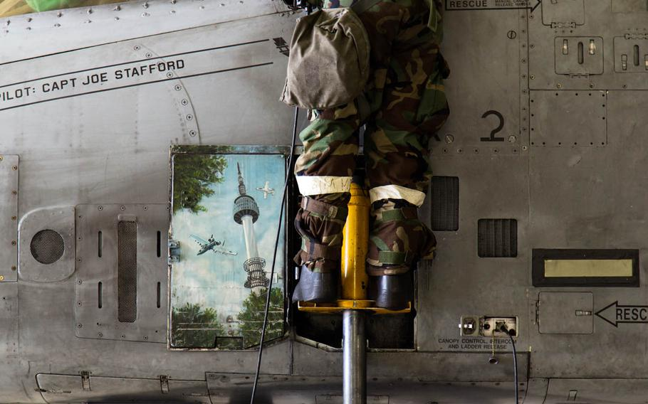 A picture of Namsan Seoul Tower is seen on an A-10 Thunderbolt II at Osan Air Base, South Korea, Thursday, Sept. 21, 2017.