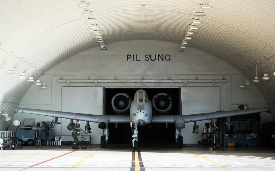 An A-10 Thunderbolt II is prepared to leave its hanger at Osan Air Base, South Korea, Thursday, Sept. 21, 2017.