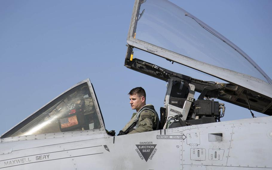 Capt. Tyler Holley of the 25th Fighter Squadron sits in the cockpit of an A-10 Thunderbolt II at Osan Air Base, South Korea, Thursday, Sept. 21, 2017.