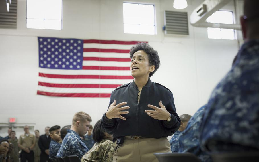 Adm. Michelle Howard addresses Sailors during an all-hands call at Navy Operational Support Center in Atlanta in 2015. Naval Forces Europe-Africa has announced that Howard plans to retire by January 2018.