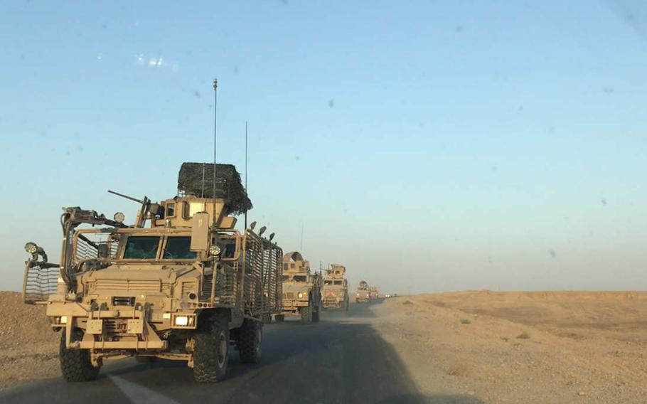 A convoy of U.S. vehicles is pictured here near Makhmour in northern Iraq on Friday, Sept. 22, 2017.  Chad Garland/Stars and Stripes