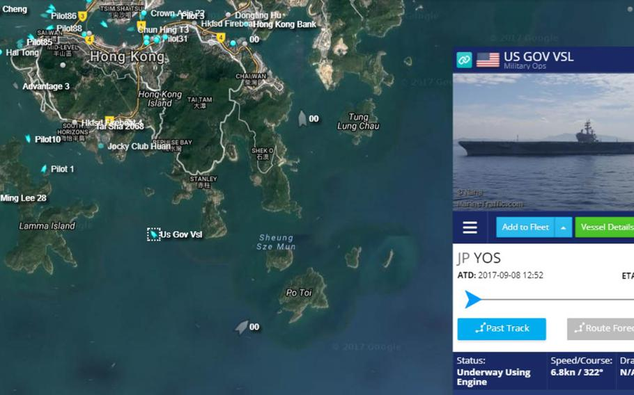 """A tweet posted on Sunday, Oct. 1. 2017, that maps the location of a """"US GOV VSL"""" approaching Hong Kong reads: """"Reason to believe this is USS Ronald Reagan (CVN 76)."""""""