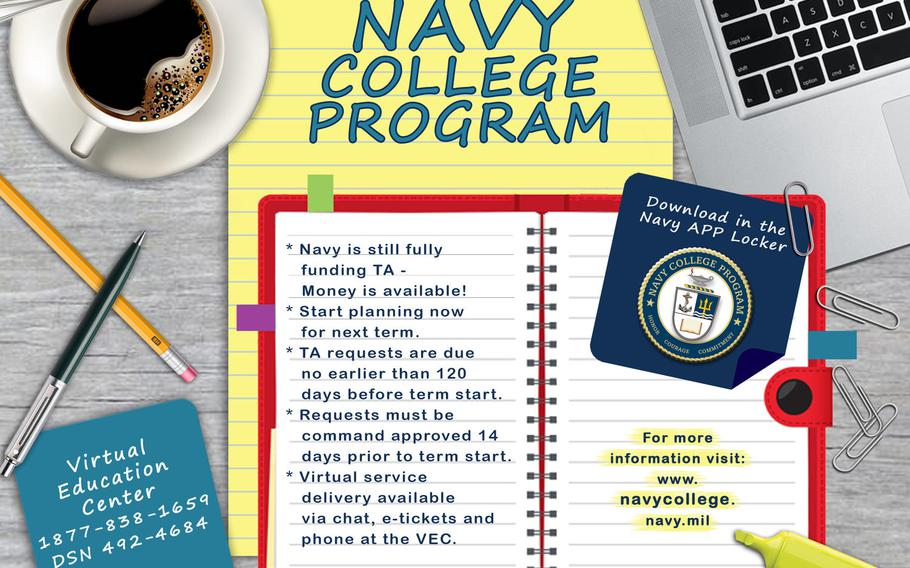 The Navy College Program provides on-line access to tuition assistance and counseling through the Virtual Education Center.