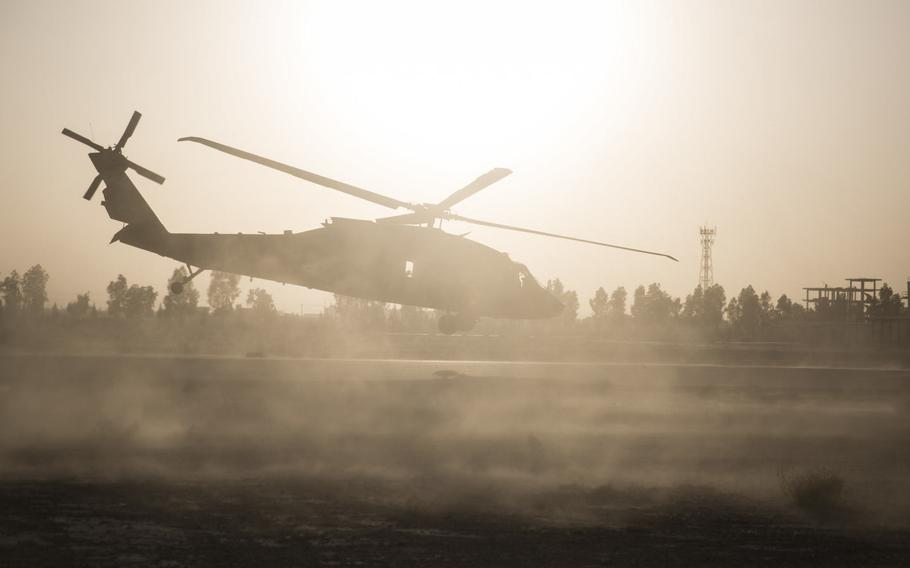 A UH-60 Blackhawk departs from Bost Airfield, Afghanistan, June 10, 2017.