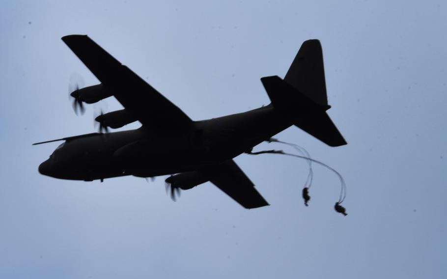 British paratroopers jump out of a C-130 Hercules during U.S. led Exercise Swift Response, Oct. 9, 2017, at Hohenfels, Germany.