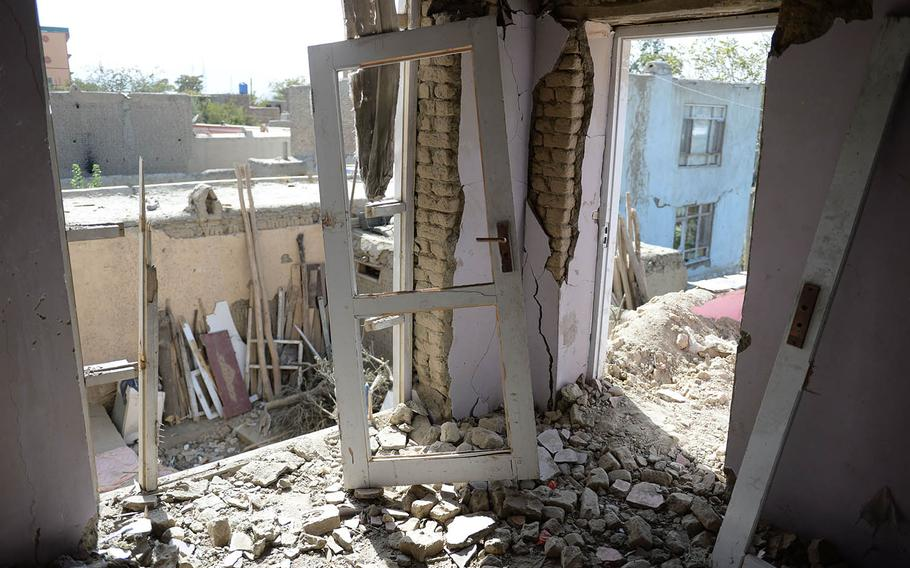 A house in Kabul stands in ruins on Oct. 8, 2017, more than a week after a U.S. missile mistakenly hit it, injuring several civilians.