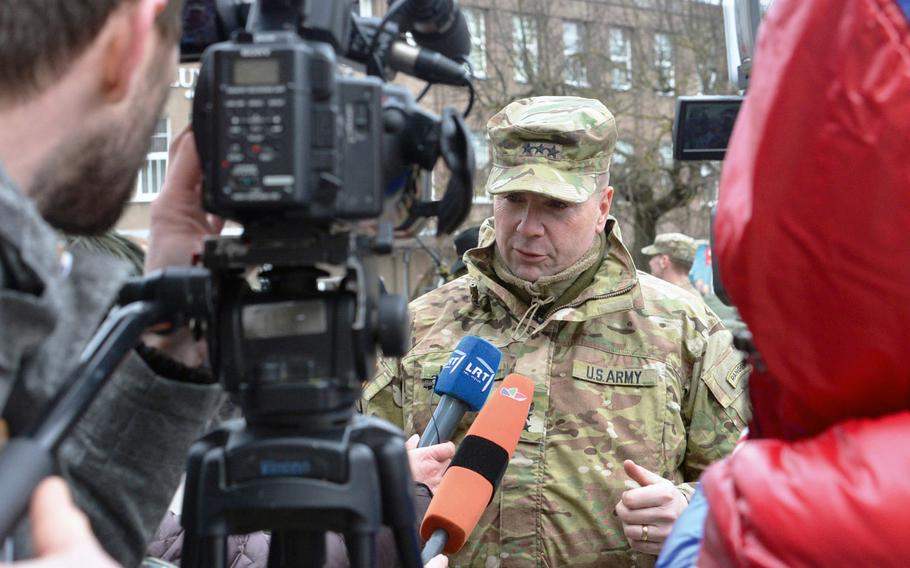 Lt. Gen. Ben Hodges, U.S. Army Europe commander, is interviewed by Lithuanian media in Panevezys, Lithuania, on Monday, March 23, 2015. Hodges is now slated to retire as the commander of U.S. Army Europe.
