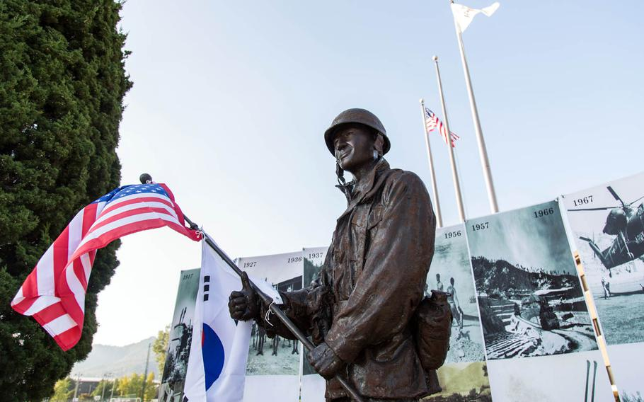 The Gen. Paul Freeman Jr. statue was unveiled at Camp Red Cloud, South Korea, Monday, Oct. 16, 2017.