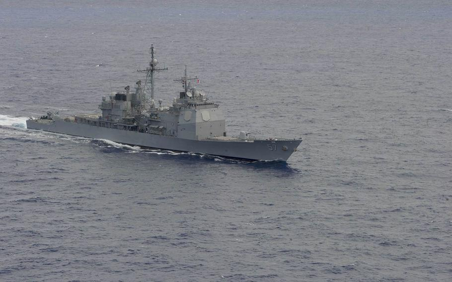 The USS Lake Champlain transits the Pacific Ocean in 2014.