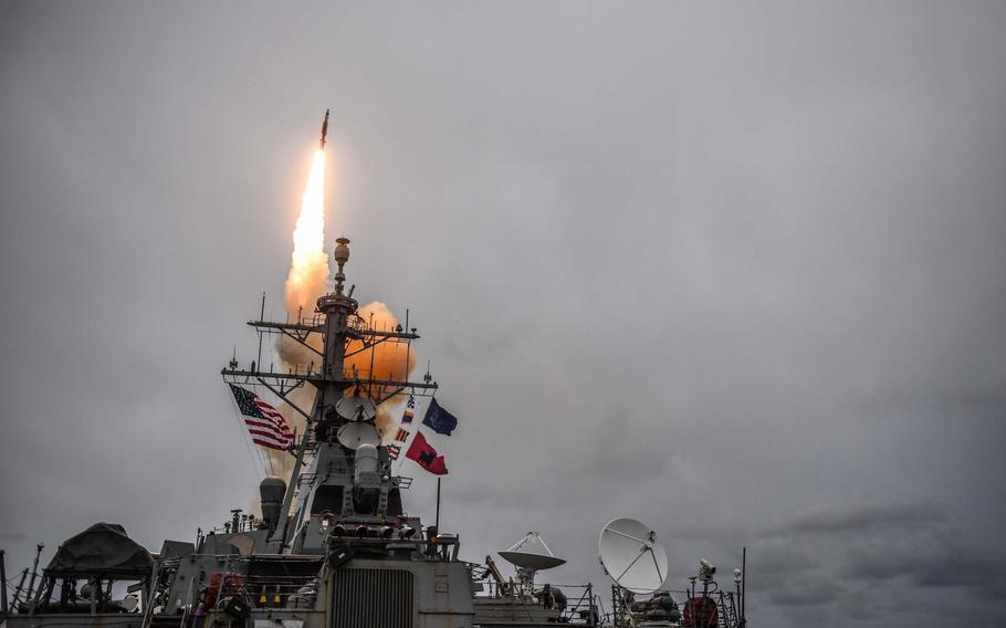 The Arleigh Burke-class guided-missile destroyer USS Donald Cook fires a standard missile 3 during exercise Formidable Shield 2017 in the Atlantic Ocean, Oct. 15, 2017.