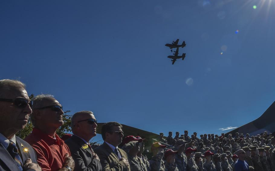 Two AC-130U Spooky Gunships perform a flyover during a combined medal ceremony at Hurlburt Field, Fla., Tuesday, Oct. 17, 2017. Secretary of the Air Force Heather Wilson awarded 10 Air Force Special Operations Command air commandos valorous medals, including the Air Force Cross, for their efforts during a fierce firefight near the city of Kunduz, Afghanistan on Nov. 2, 2016.