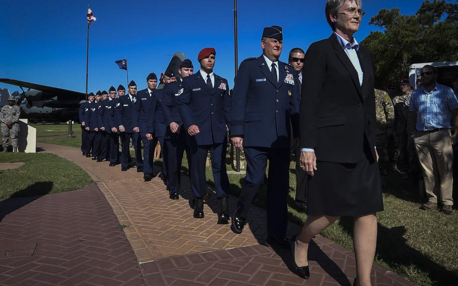 Secretary of the Air Force, Heather Wilson, leads the official party during a combined medal ceremony at Hurlburt Field, Fla., Tuesday, Oct. 17, 2017.