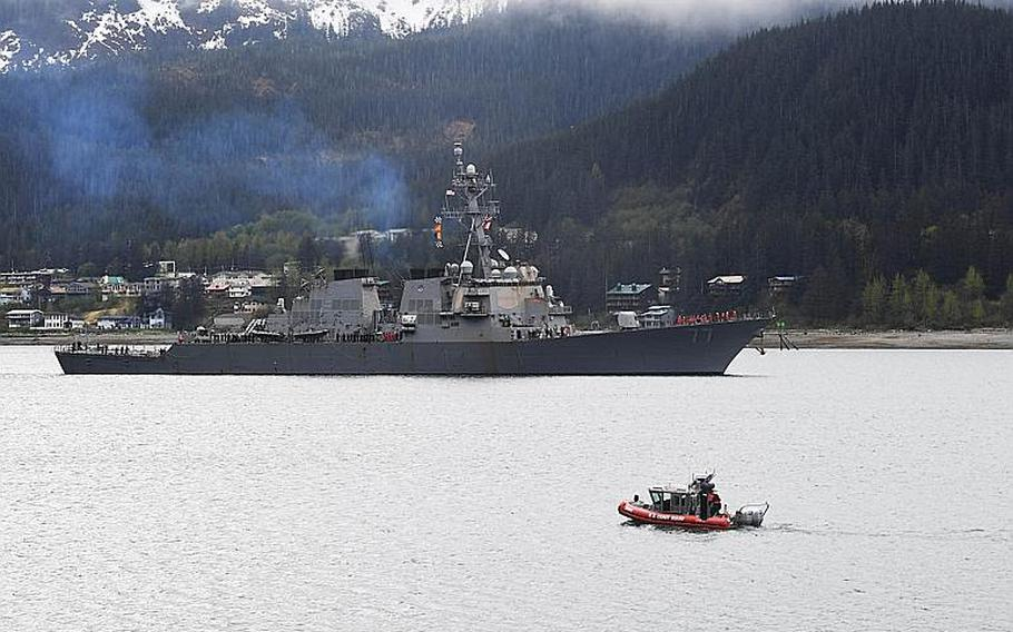 The USS O'Kane arrives in Juneau, Alaska, for a scheduled port visit on May 13, 2017.