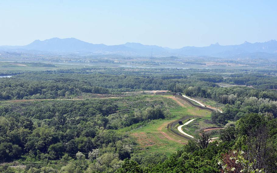 The Demilitarized Zone separating the two Koreas is seen from South Korea's Dora Observatory in May 2017.