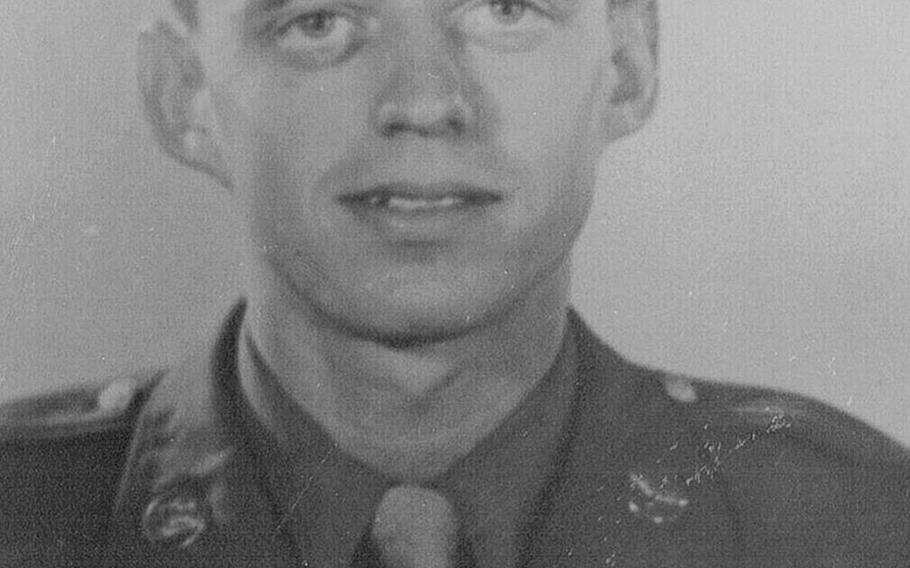 Staff Sgt. Robert R. Butler Jr., engineer of Pregnant Peggy, B-24 Liberator, of the 844th Bomber Squadron, 489th Bomber Group, 8th Army Air Corps. Butler died in 1944 when his plane collided with another bomber on a mission in Germany.