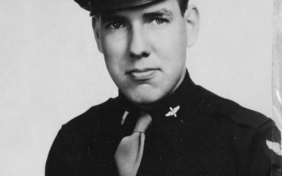 2nd Lt. Lee Lithander, pilot of Pregnant Peggy, B-24 Liberator, of 844th Bomber Squadron, 489th Bomber Group, 8th Army Air Corps. Lithander died in 1944 when his plane collided with another bomber on a mission in Germany.