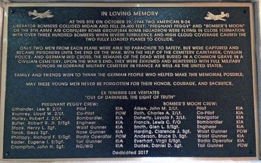 A memorial unveiled Oct. 19, 2017, to honor 14 servicemembers who died during a B-24 bombing raid on Oct. 19, 1944, in Germany names each crew member who died and the four others who became POWs.