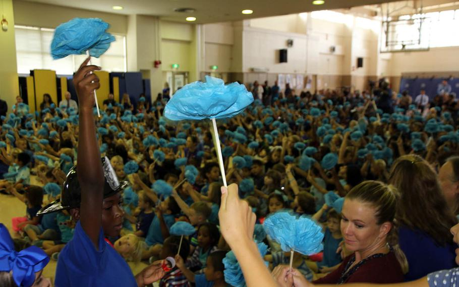 Students at Edward C. Killin Elementary School at Camp Foster, Okinawa, celebrate being named a National Blue Ribbon School for 2017 by the Department of Education, Friday, Oct. 20, 2017.