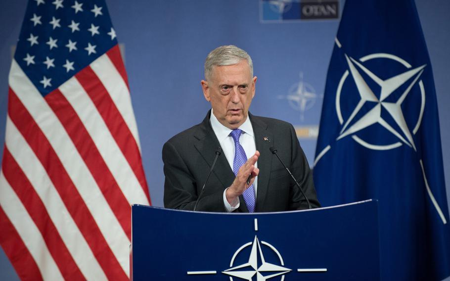 Defense Secretary Jim Mattis briefs the press at the NATO headquarters in Brussels, June 29, 2017.