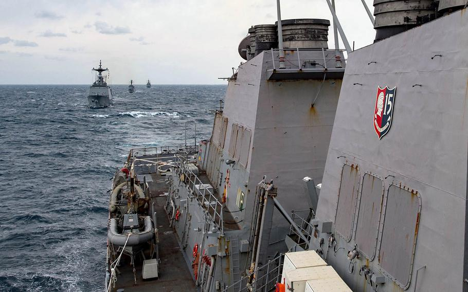 The guided-missile destroyer USS Stethem steams in formation with South Korean navy ships during recent missile-defense drills in the region.