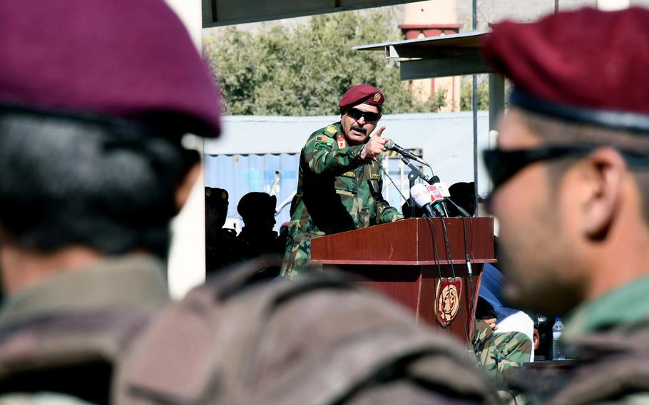 Gen. Bismillah Waziri, commander of the Afghan National Army's Special Operations Corps, speaks to new commandos at a graduation ceremony in Kabul on Wednesday, Oct. 25, 2017.