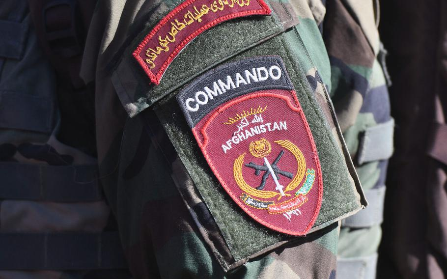 The badge of an Afghan commando attending a ceremony in Kabul on Wednesday, Oct. 25, 2017.