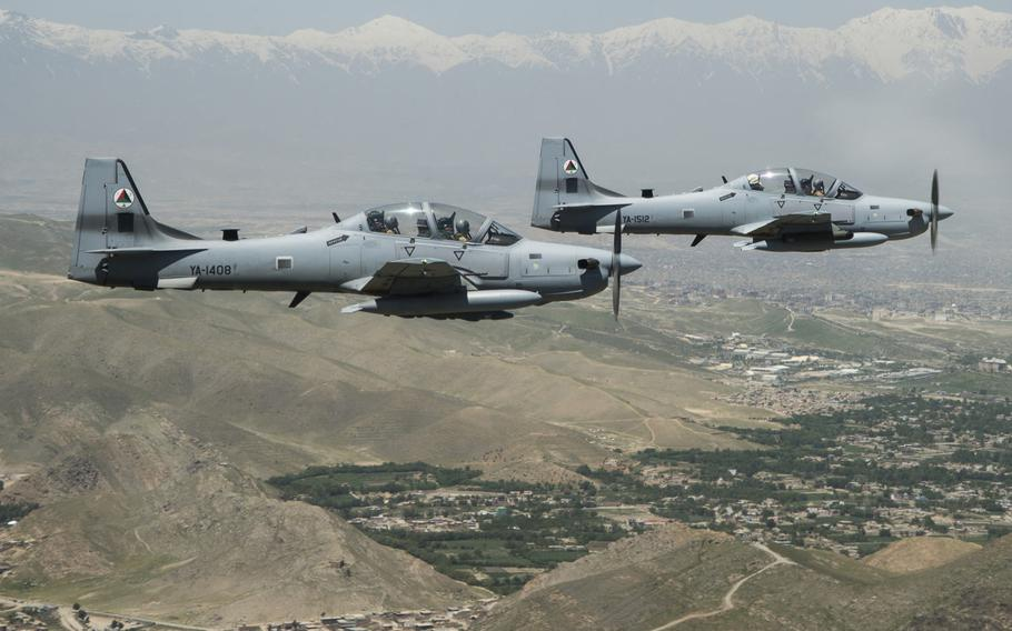 A two-ship formation of A-29 Super Tucanos fly over Kabul, Afghanistan during a mission on April 28, 2016. The A-29 Super Tucanos are the Afghan Air Force's newest addition to the inventory.