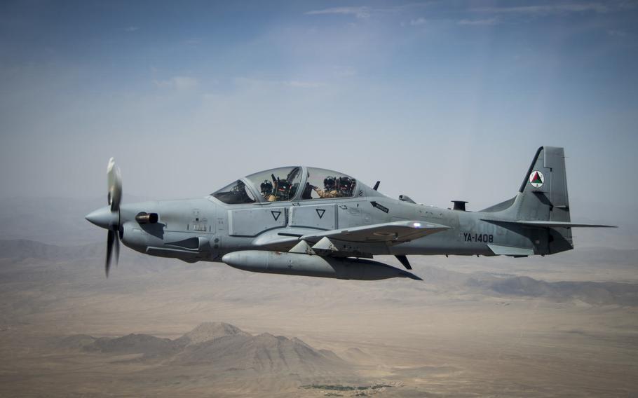 An Afghan Air Force A-29 Super Tucano soars over Kabul, Afghanistan, Aug. 14, 2015.