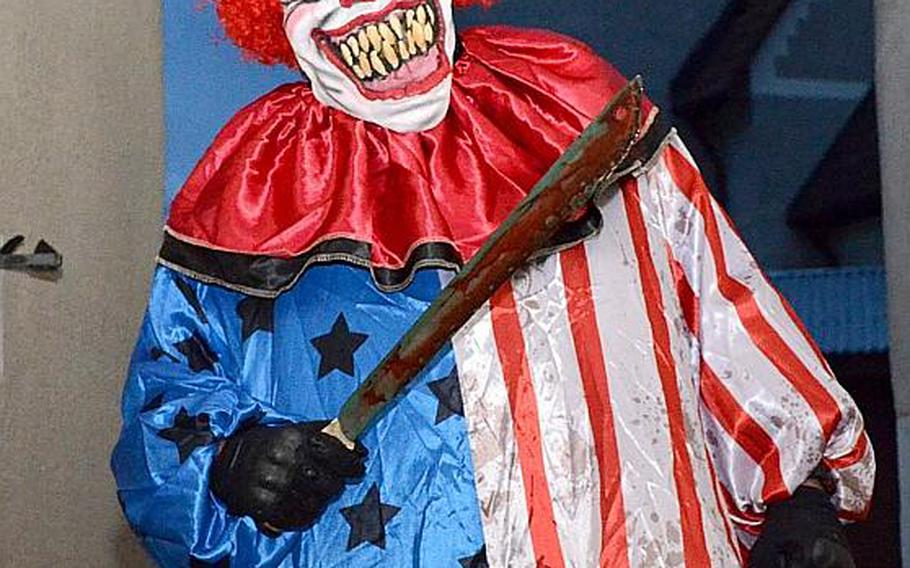 A soldier from the 1st Battalion, 4th Infantry Regiment transformed into a killer clown in the Haunted Village at the Hohenfels Training Area, Germany, on Oct. 28, 2017. The 1st Battalion, 4th Infantry Regiment ran the village.
