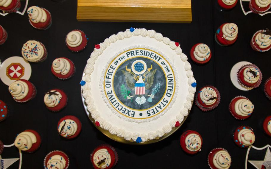 A special cake and cupcakes were on hand during President Donald Trump's lunch with trrops at Camp Humphreys, South Korea, Tuesday, Nov. 7, 2017.