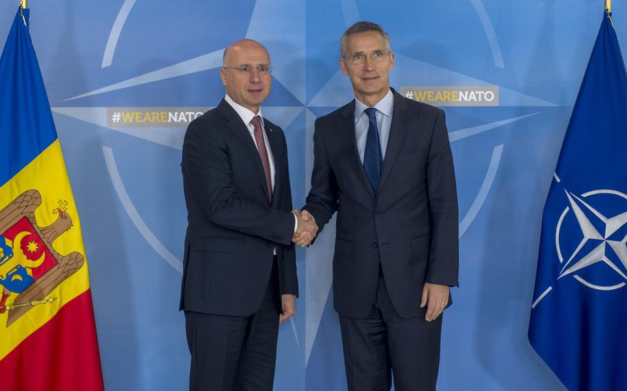 Moldovan Prime Minister Pavel Filip  meets with NATO Secretary-General Jens Stoltenberg in Brussels, Belgium, Thursday, Nov.23, 2017. NATO will open a new security cooperation center in Moldova, a neutral country with a territorial dispute with Russia.