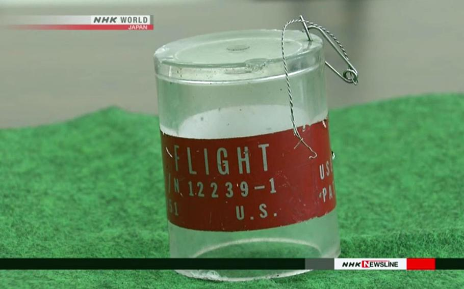 This image from a report by Japanese broadcaster NHK shows an object that reportedly fell onto the roof of a day care center on Okinawa.