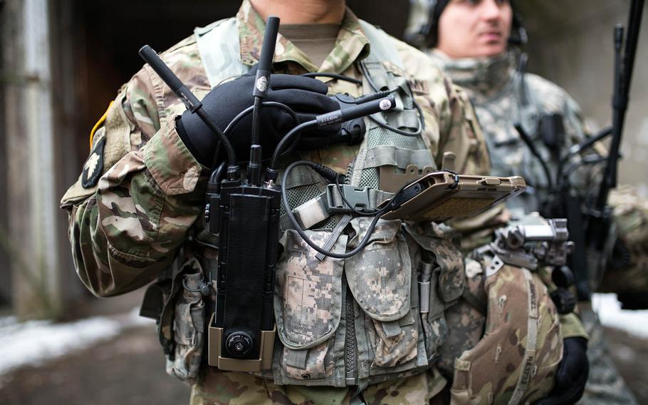 A solider is equipped with the MPU5 radio system and tablet at Camp Stanley, South Korea, Friday, Dec. 15, 2017.